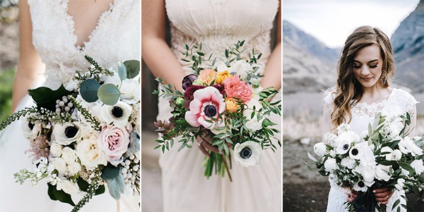 anemones wedding bouquets