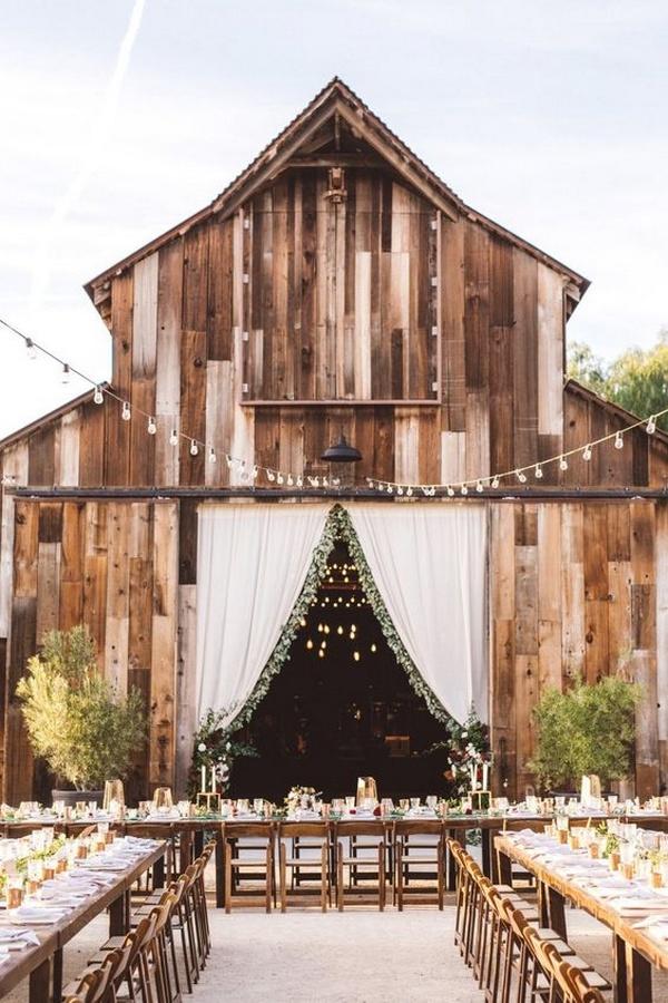 barn wedding reception ideas with long tables
