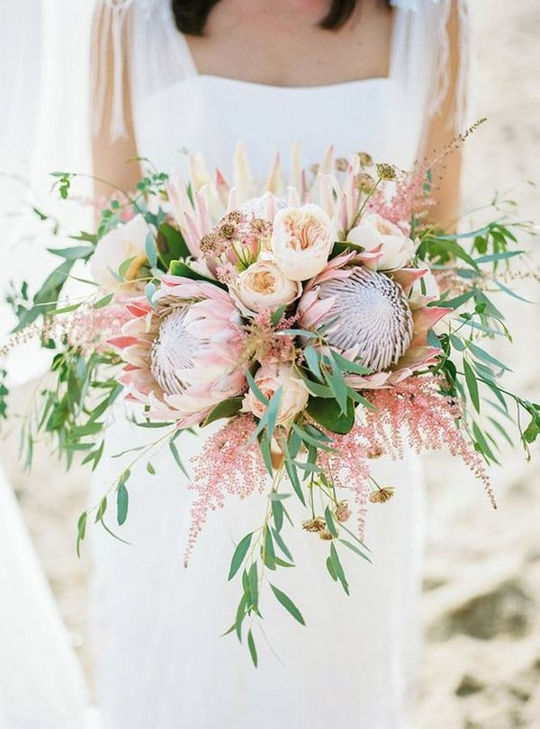 blush and green bohemian wedding bouquet with proteas