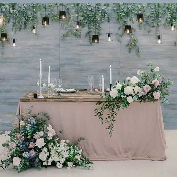 Wedding Reception Head Table Ideas: Blush And Greener Wedding Head Table Backdrop Ideas