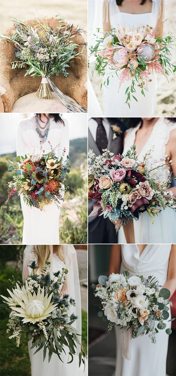 bohemian wedding bouquets for spring summer 2019
