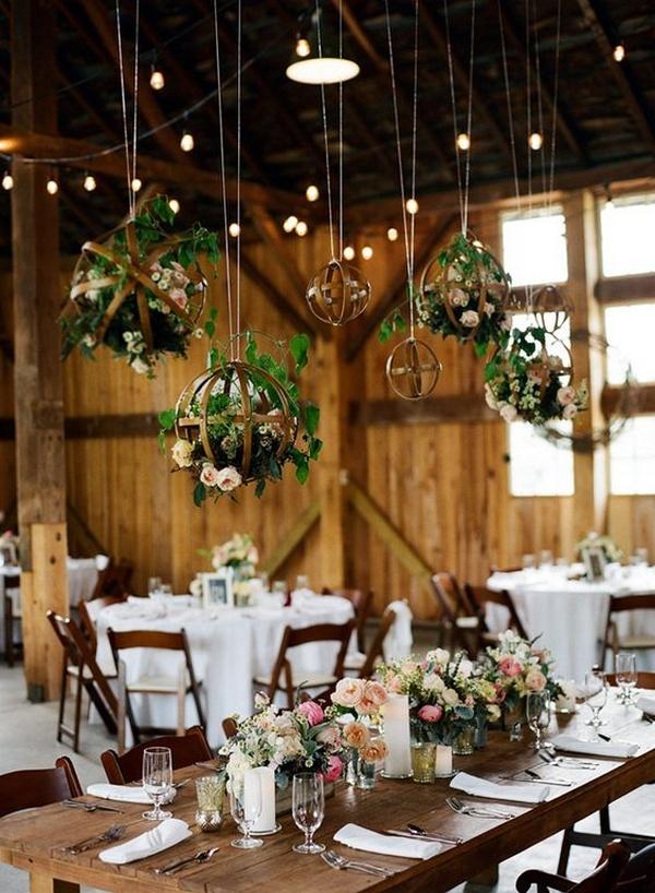 chic barn wedding reception decoration ideas