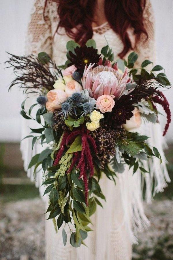 chic bohemian wedding bouquet ideas