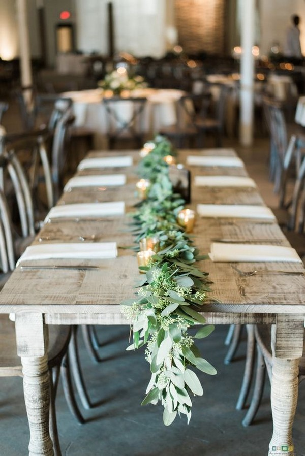 chic garland wedding table decoration ideas