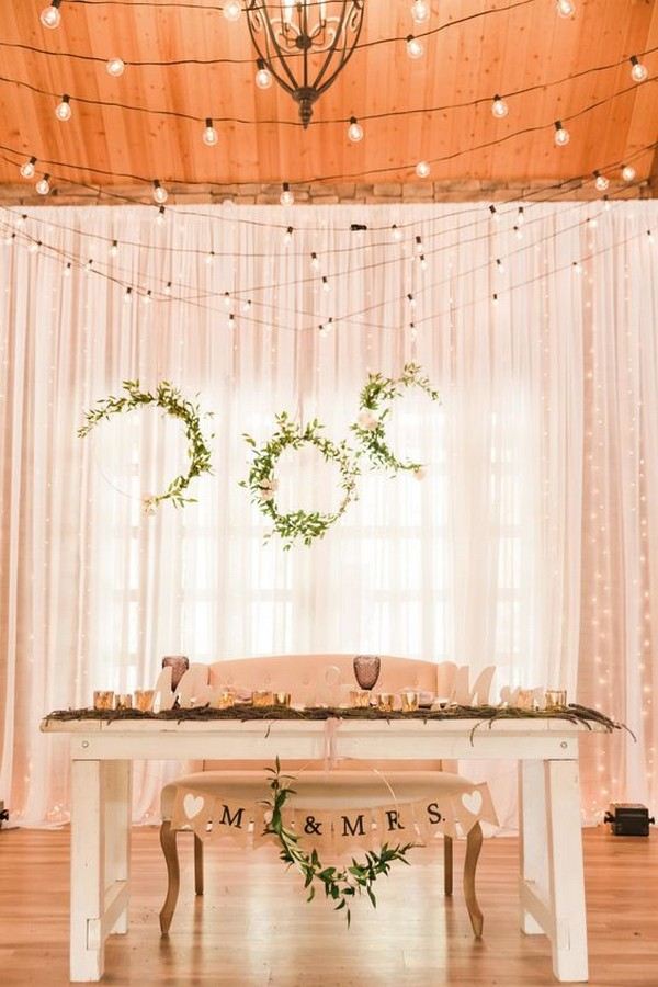 chic wedding head table backdrop ideas with lights