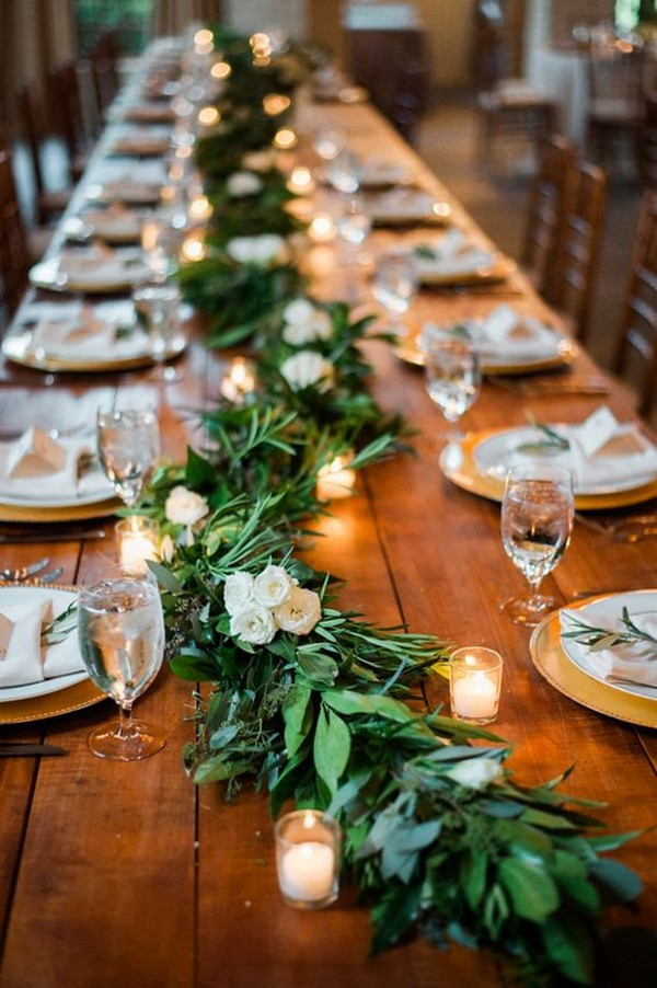 chic wedding table decoration ideas with garland and candles