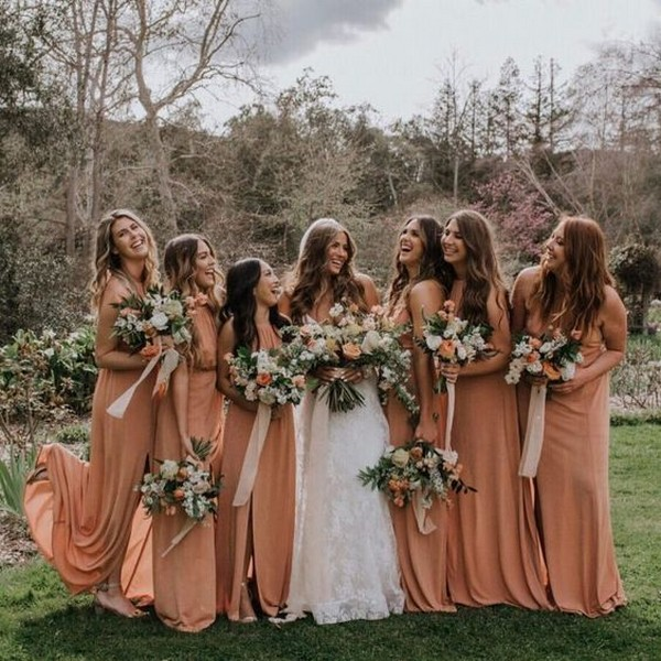 dusty orange bridesmaid dresses