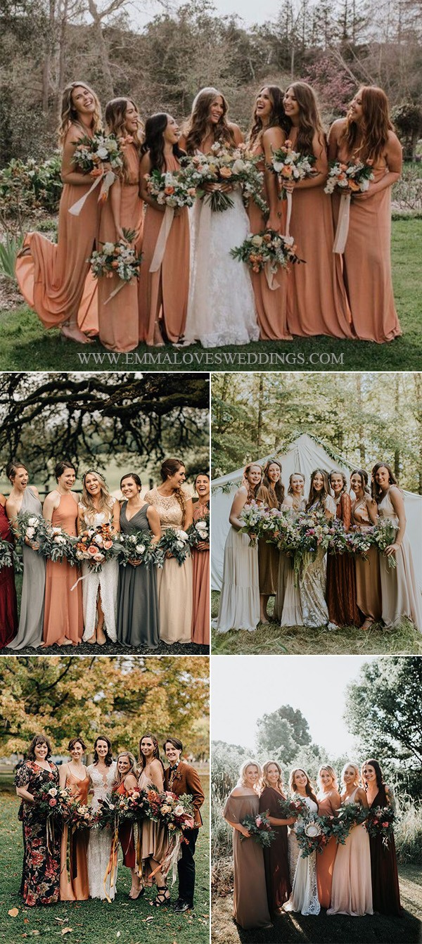 dusty orange mix and match bridesmaid dresses