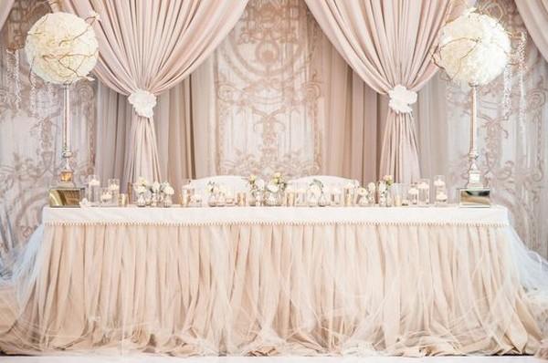 Elegant Blush Pink Wedding Head Table Backdrop Ideas