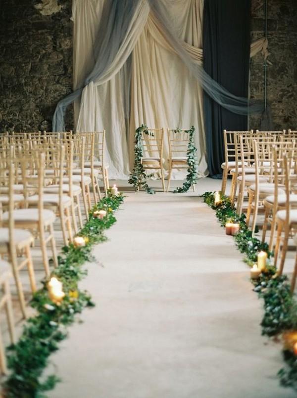 elegant wedding aisle decoration ideas with garlands