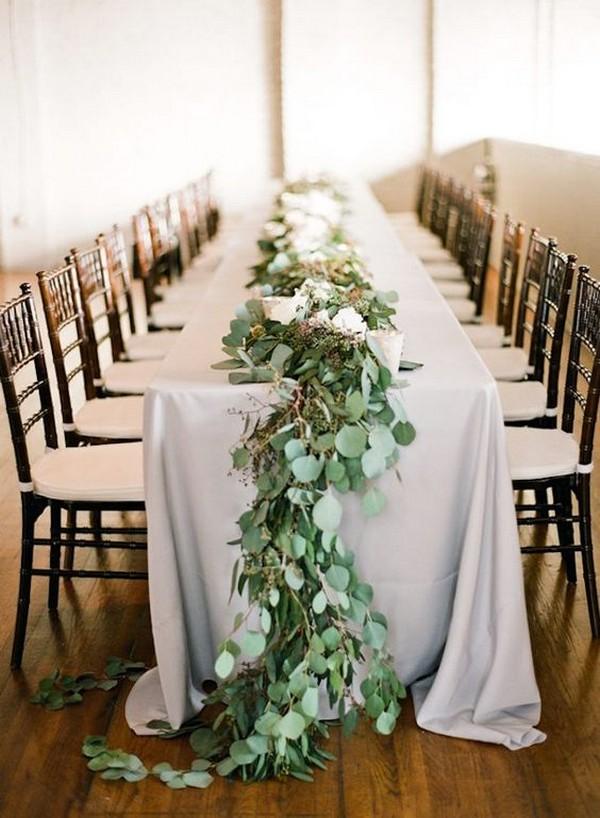 elegant wedding table decoration ideas with garland