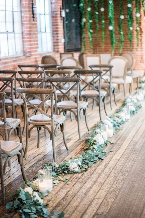garland wedding aisle decoration ideas with candles