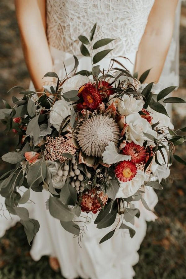 green white and red bohemain moody wedding bouquet