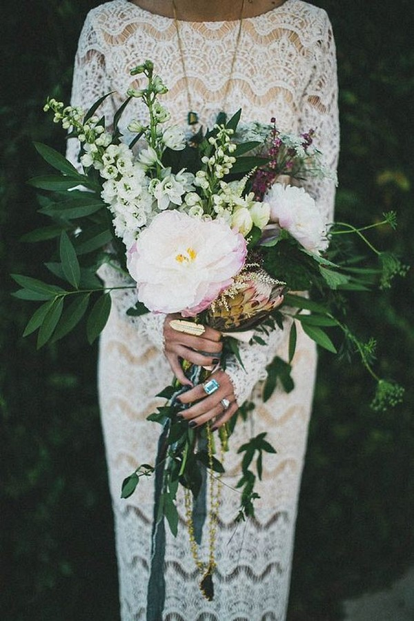 greenery and pink boho wedding bouquet