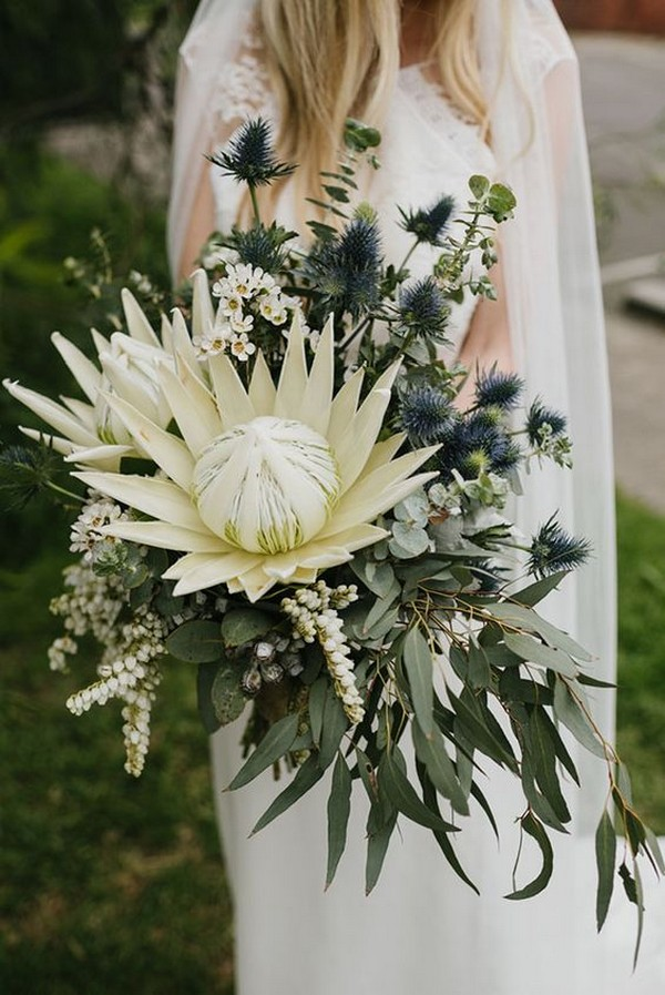 greenery bohemian wedding bouquet with proteas