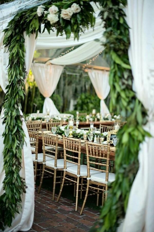 greenery garlands wedding entrance