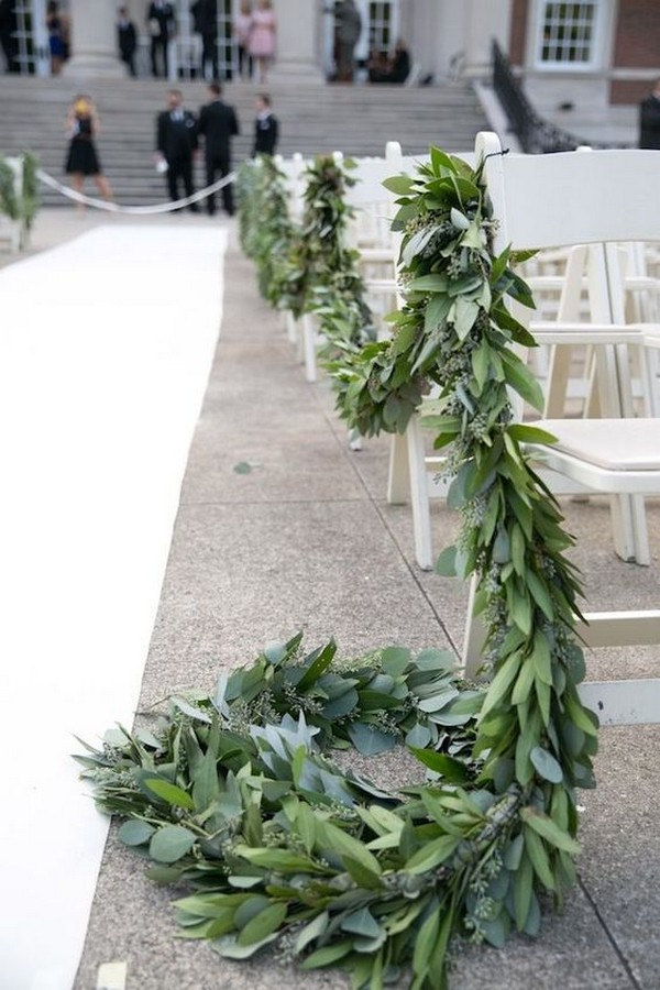 greenery herb garland wedding aisle decoration ideas