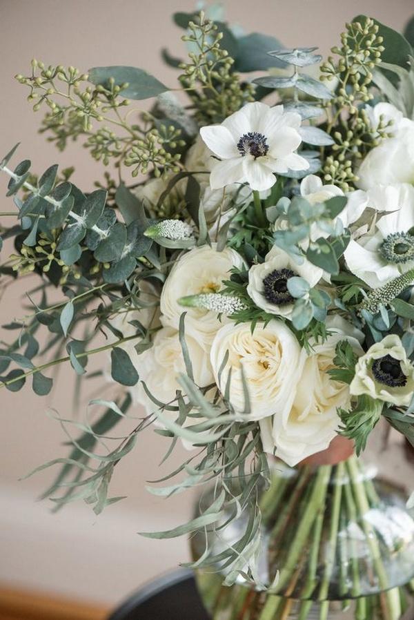 greenery wedding bouquet with anemones