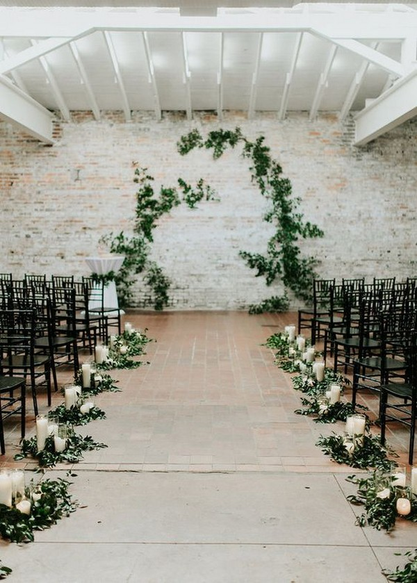 industrial wedding ceremony decoration ideas with garlands aisle
