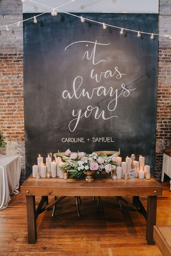 industrial wedding table backdrop decoration ideas with lights