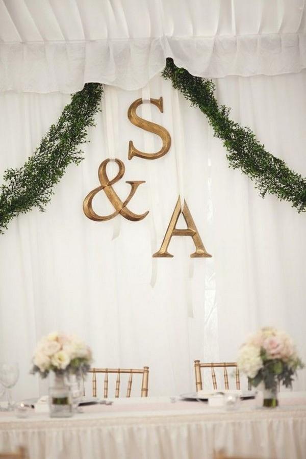 monogram wedding head table backdrop ideas