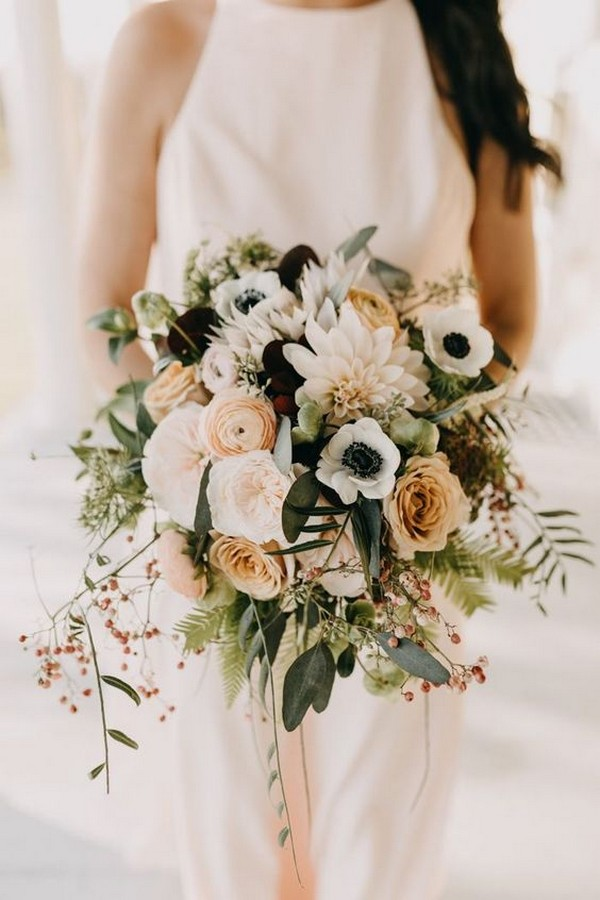 neutral colors bohemian wedding bouquet