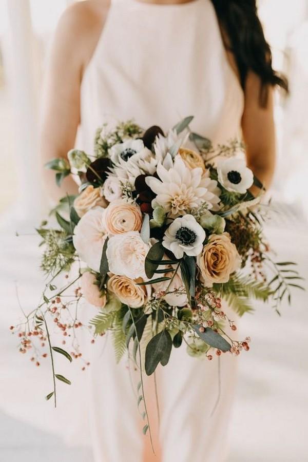 neutral colors bohemian wedding bouquet