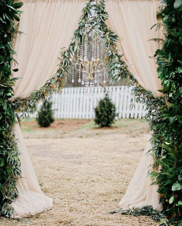 organic garland wedding arch ideas