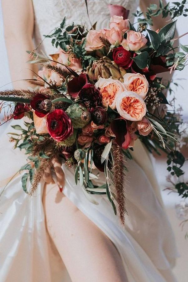 peach and burgundy wedding bouquet