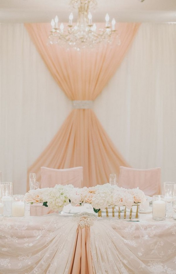 peach and ivory wedding head table backdrop ideas
