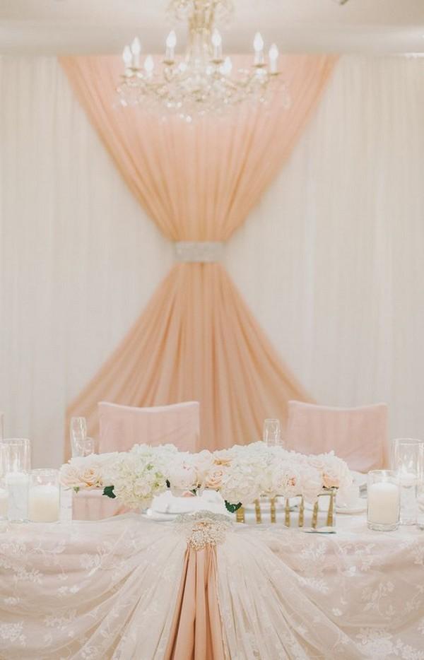 peach and ivory wedding head table backdrop ideas