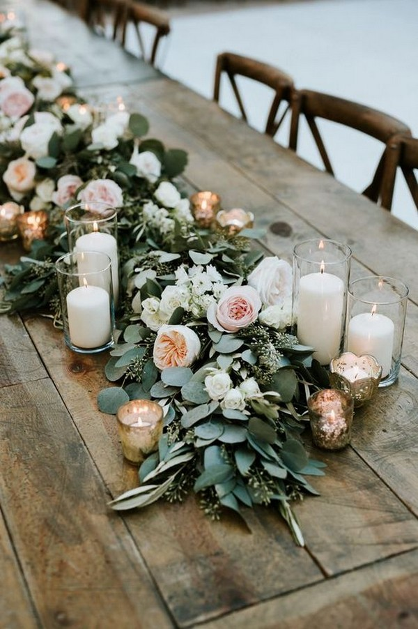 peach blush and greenery garland wedding table setting ideas