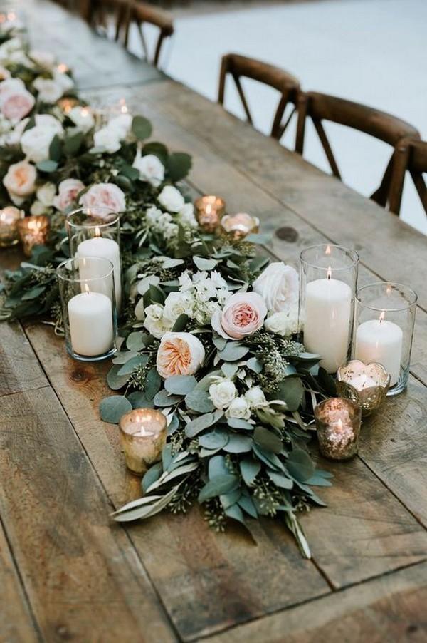 peach blush and greenery garland wedding table setting ideas