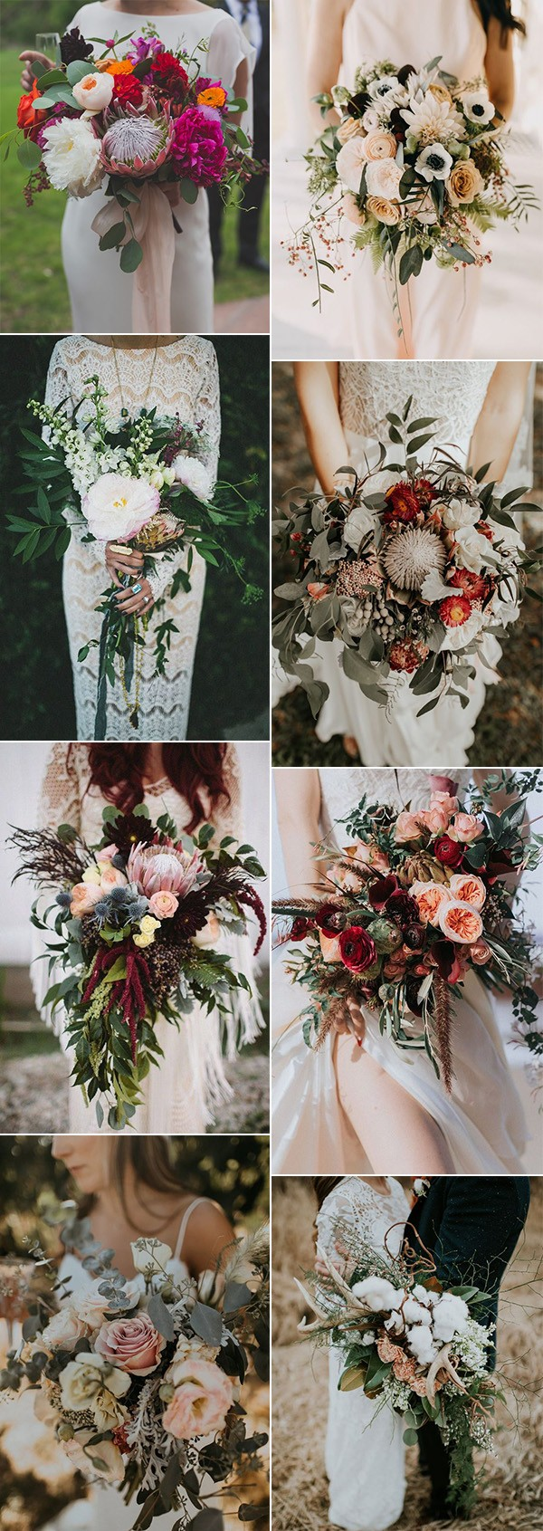 pretty bohemian wedding bouquet ideas