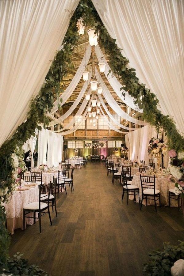 romantic barn wedding reception decoration ideas