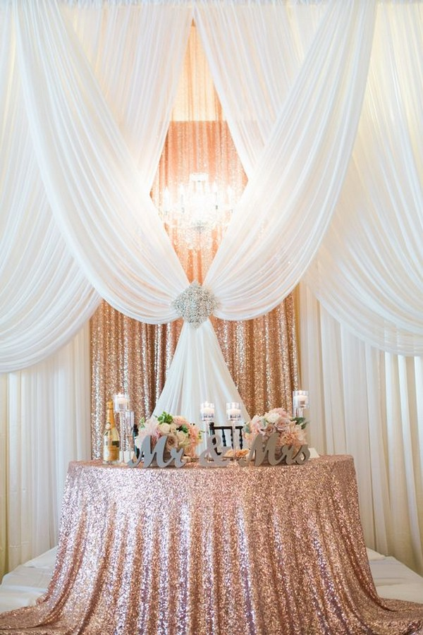 rose gold wedding sweetheart table decoration ideas