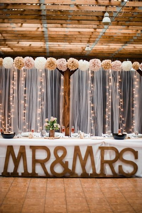 rustic wedding head table decoration ideas