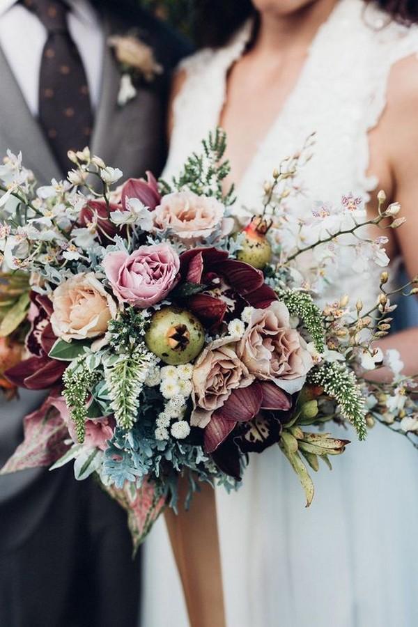 shades of purple bohemian wedding bouquet ideas
