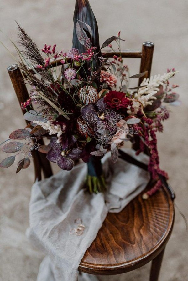 shades of red and purple boho wedding bouquet