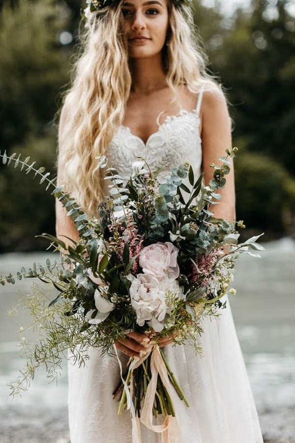 soft white and green boho chic wedding bouquet