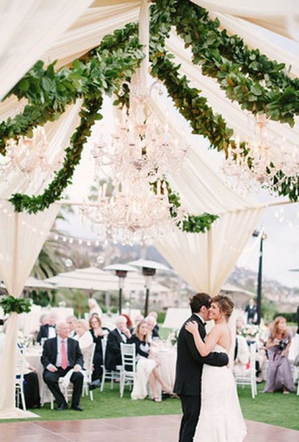 tented wedding ideas with hanging garlands