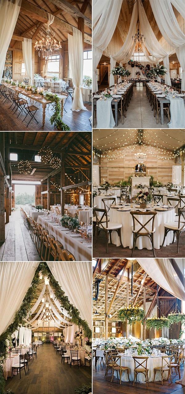 trending chic barn wedding reception ideas
