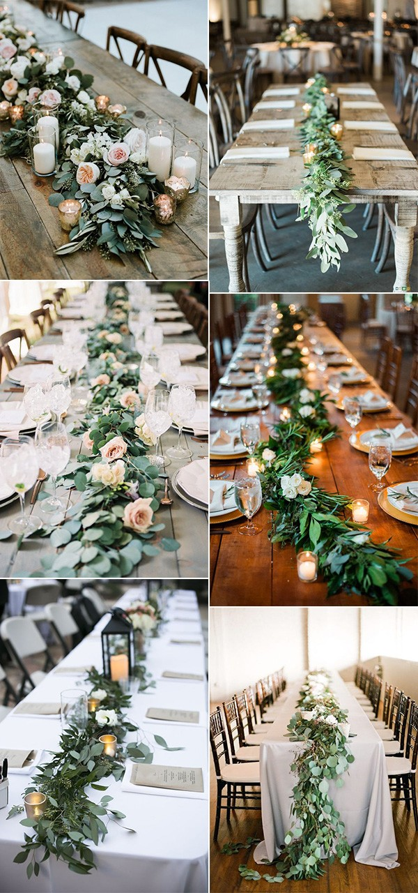 trending greenery garland wedding centerpiece ideas