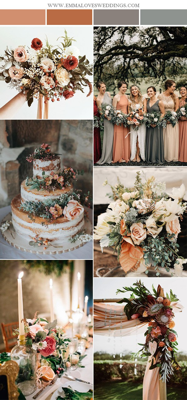 trending sunset orange wedding color ideas