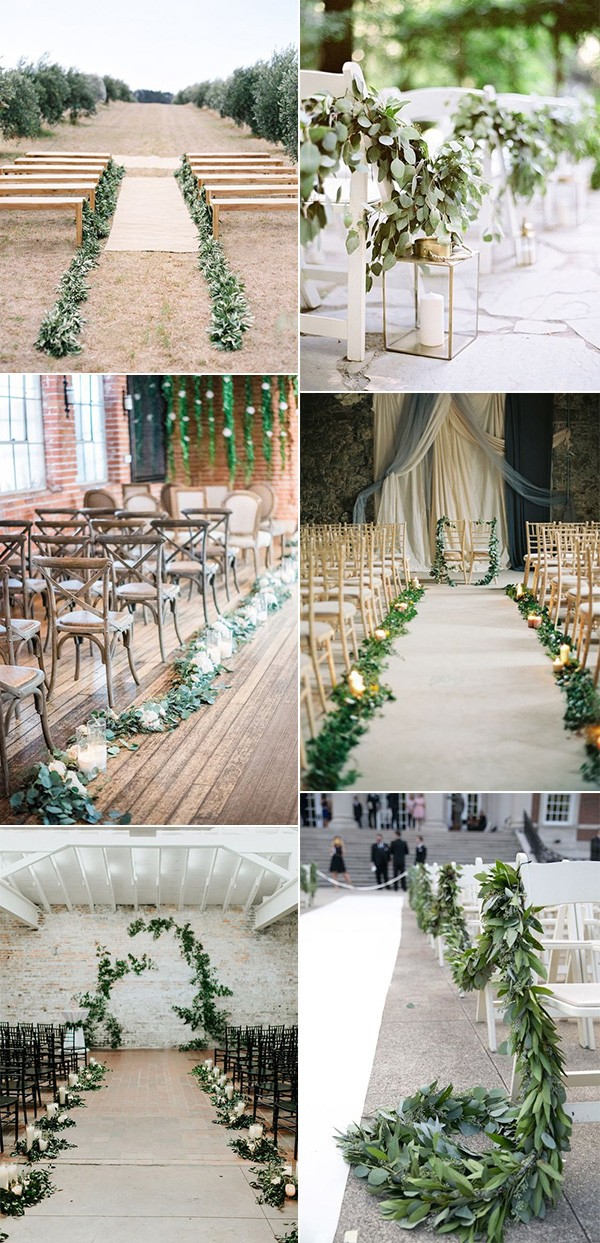 trending wedding aisle decoration ideas with garlands
