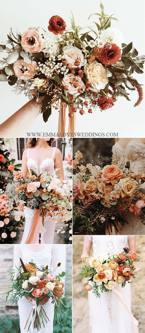 trending wedding bouquet ideas with sunset orange colors