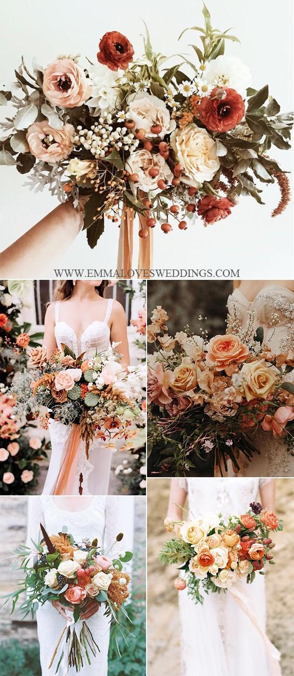 trending wedding bouquet ideas with sunset orange colors