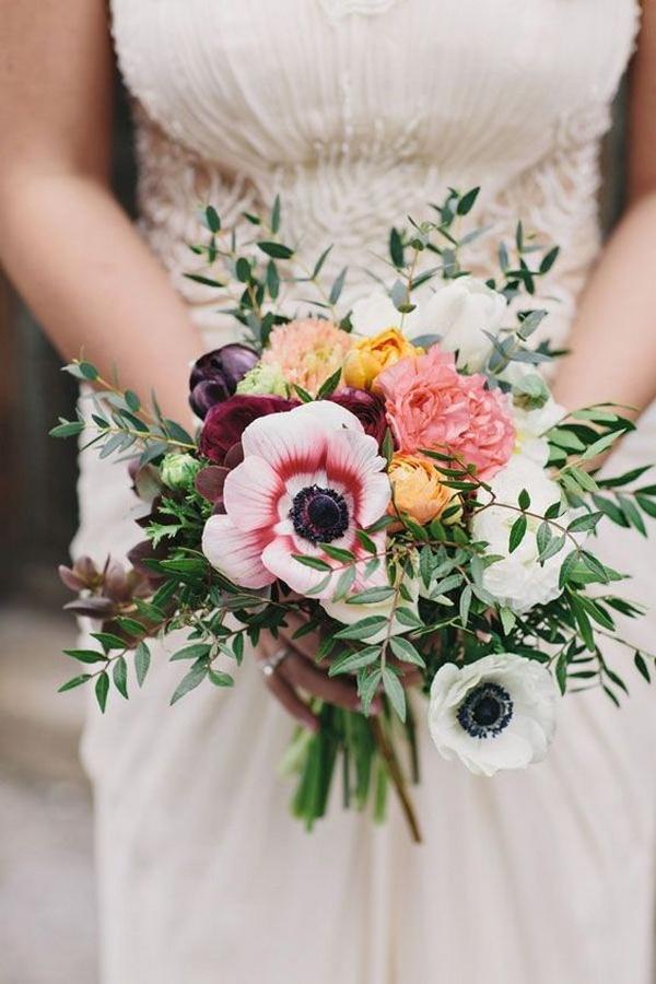 trending wedding bouquet with anemones