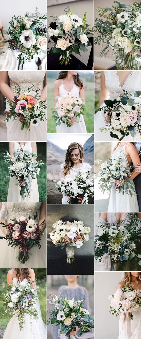 trending wedding bouquets with anemones
