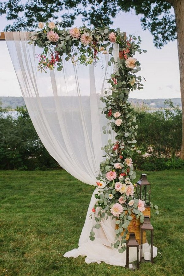 wedding arch decoration ideas with fabric and garland